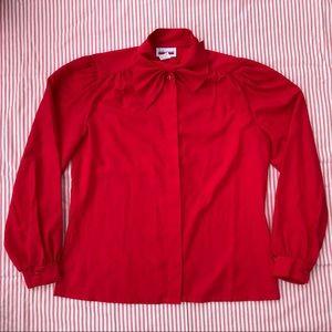 Vintage Red Necktie Button Up Blouse